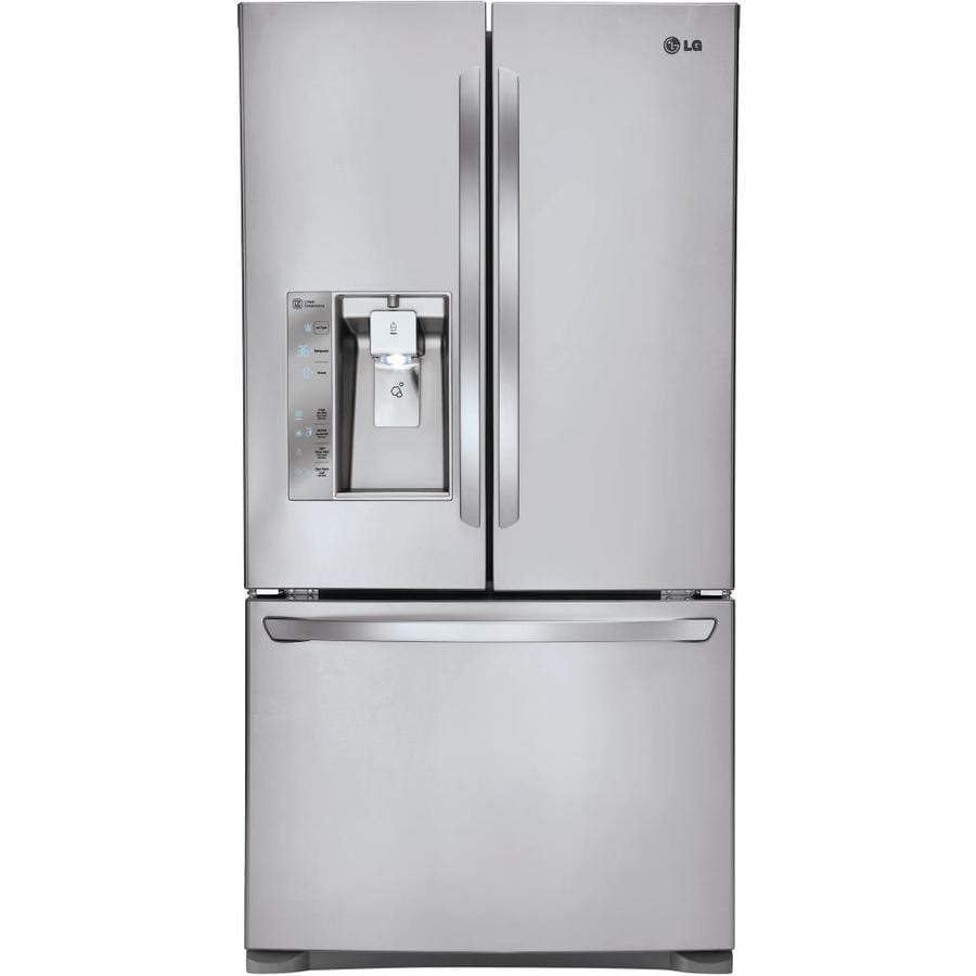white french door refrigerator. LG 24-cu Ft Counter-Depth French Door Refrigerator With Ice Maker (Stainless White