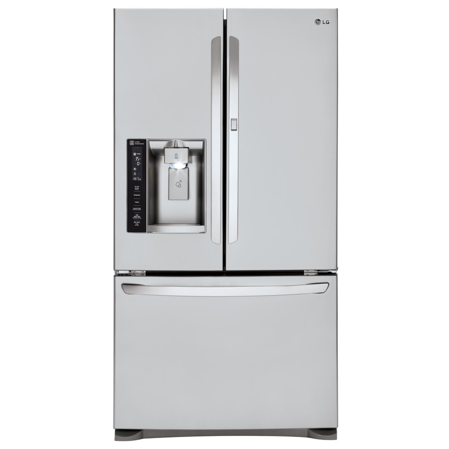 Shop lg 26 6 cu ft 4 door french door refrigerator with for 6 ft wide french doors