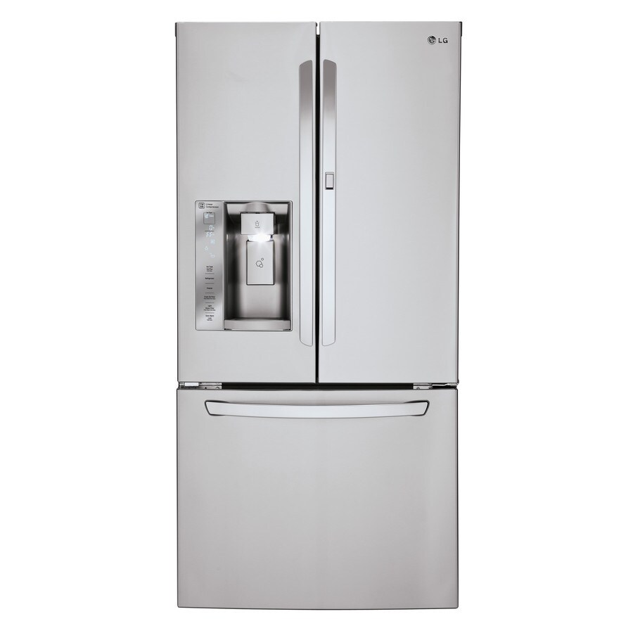 shop lg 24 cu ft french door refrigerator with ice maker and door within door stainless steel. Black Bedroom Furniture Sets. Home Design Ideas