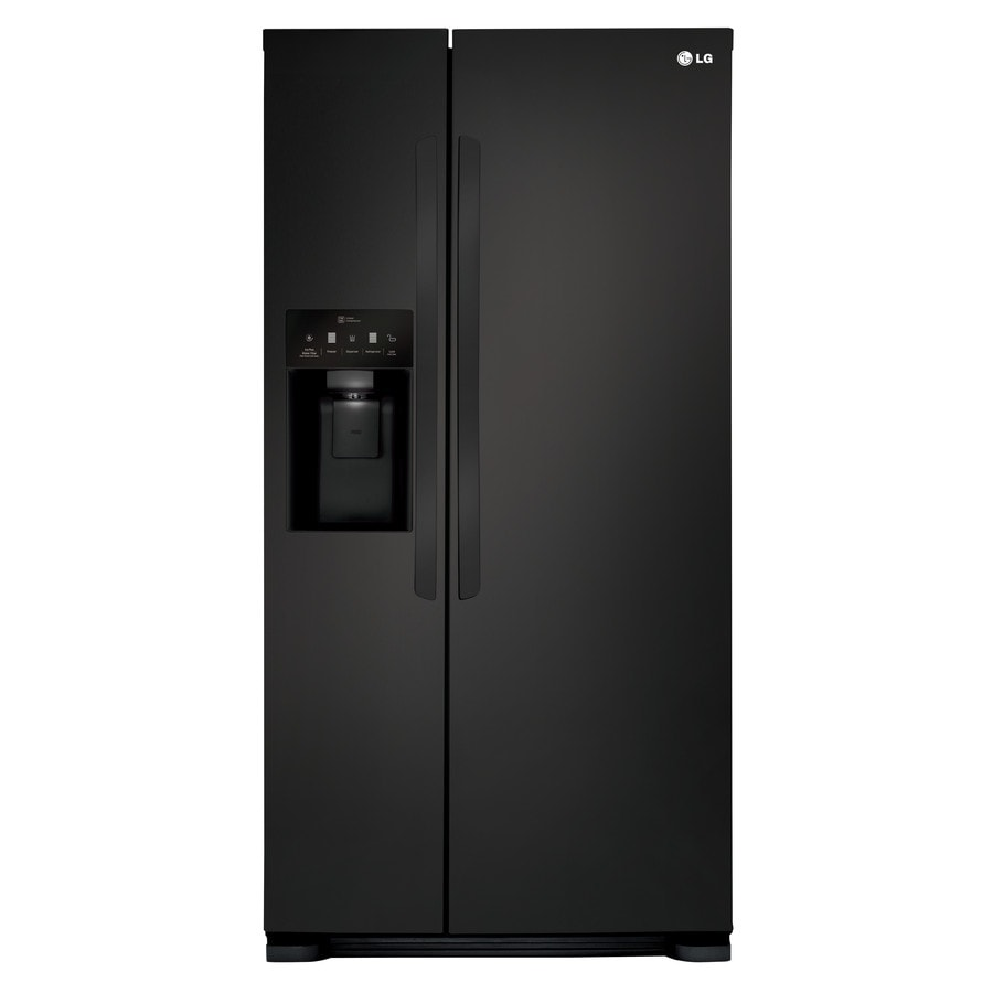 LG 22.1-cu ft Side-by-Side Refrigerator with Ice Maker (Smooth Black) ENERGY STAR
