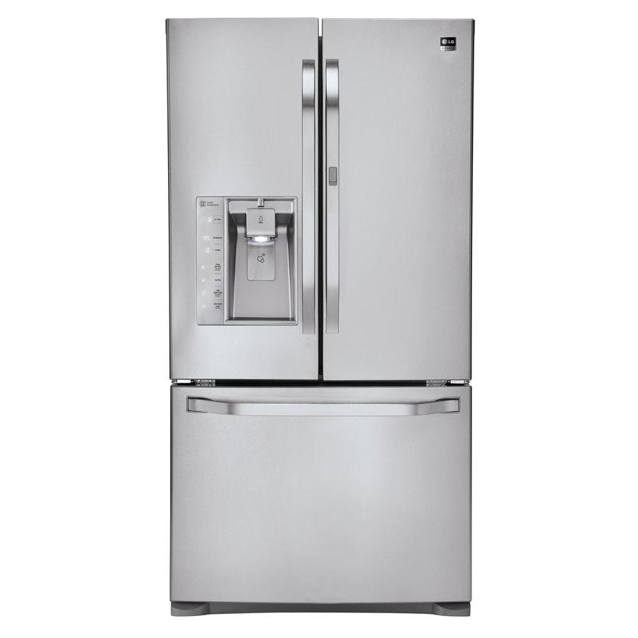 LG Studio 23.5-cu ft Counter-Depth French Door Refrigerator with Single Ice Maker Door Within Door (Stainless Steel) ENERGY STAR
