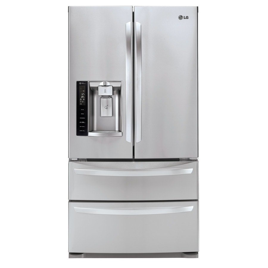 shop lg 26 8 cu ft 4 door french door refrigerator with single ice maker stainless steel. Black Bedroom Furniture Sets. Home Design Ideas