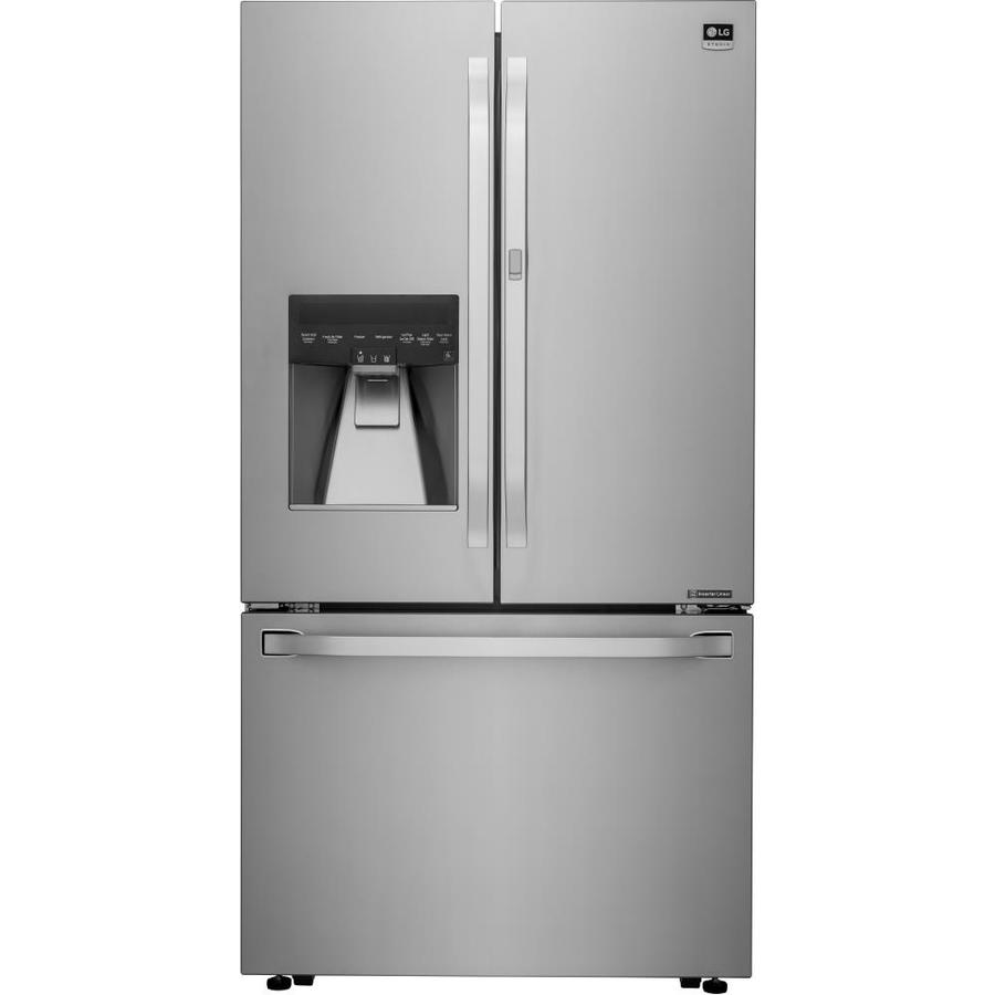 shop lg studio 23 5 cu ft 3 door counter depth french door refrigerator single ice maker door. Black Bedroom Furniture Sets. Home Design Ideas