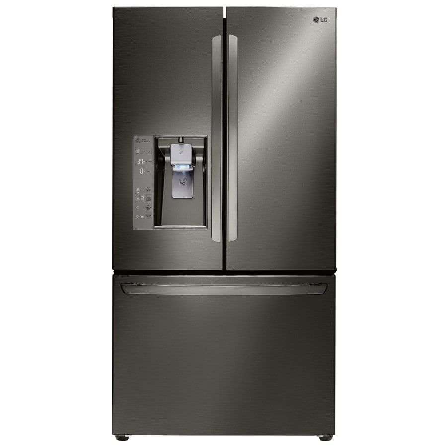 lg refrigerator 24. lg 24-cu ft counter-depth french door refrigerator with ice maker (fingerprint lg 24