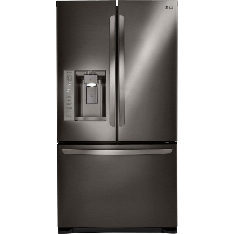 LG 24.1-cu ft French Door Refrigerator with Dual Ice Maker (Black Stainless Steel)