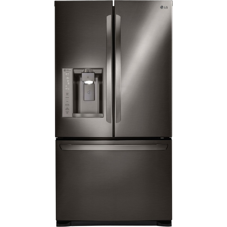 LG 26.8-cu ft French Door Refrigerator Single Ice Maker (Black Stainless Steel) ENERGY STAR