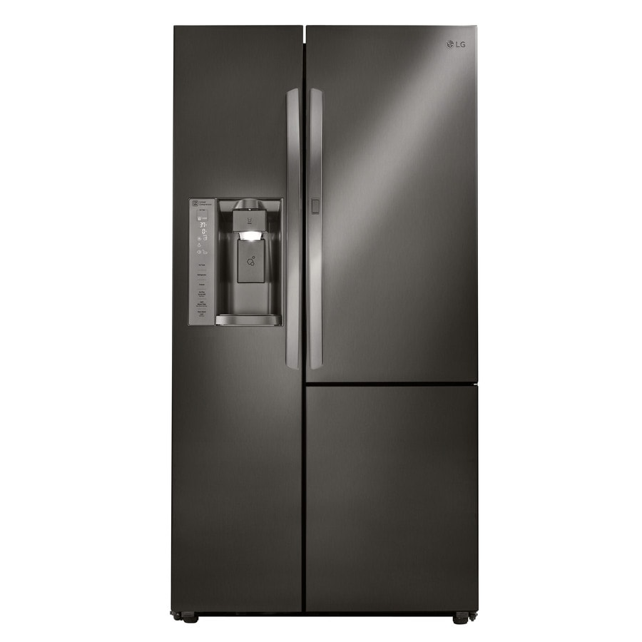 LG 21.7-cu ft Counter-Depth Side-by-Side Refrigerator with Single Ice Maker and Door within Door (Black Stainless Steel) ENERGY STAR