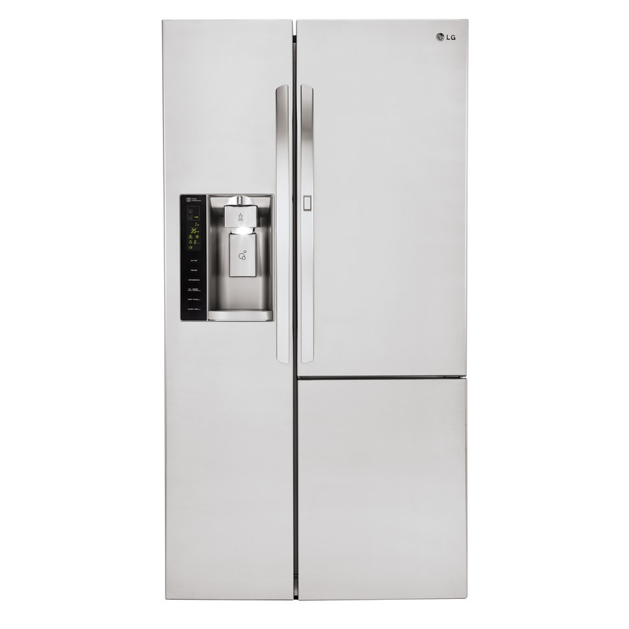 LG 21.7-cu ft Counter-Depth Side-by-Side Refrigerator with Single Ice Maker and Door within Door (Stainless Steel) ENERGY STAR