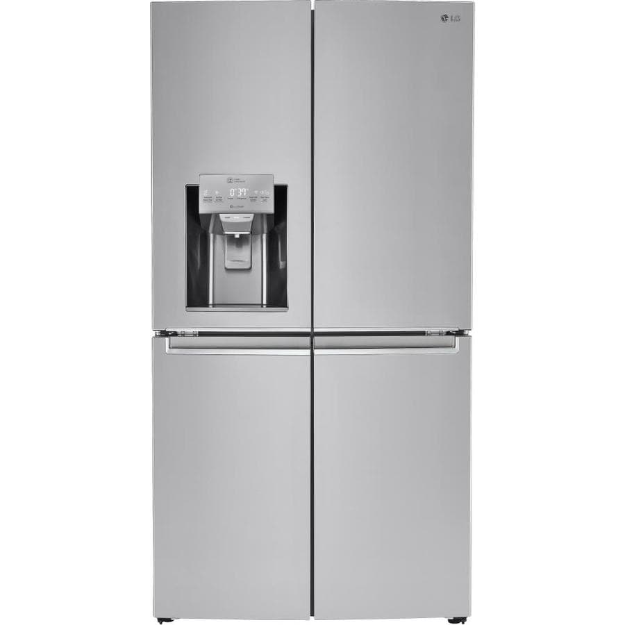 shop lg 22 7 cu ft 4 door counter depth french door refrigerator with ice maker stainless steel. Black Bedroom Furniture Sets. Home Design Ideas