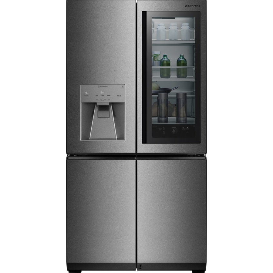 LG SIGNATURE InstaView 22.8-cu ft 4-Door Counter-Depth French Door Refrigerator with Ice Maker and Door within Door (Diffused Reflection Stainless Steel) ENERGY STAR