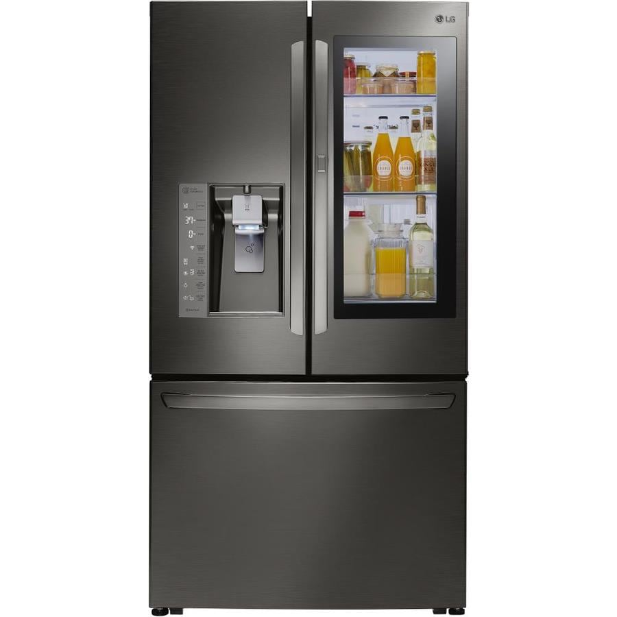 LG InstaView 23.5-cu ft Counter-Depth French Door Refrigerator with Single Ice Maker and Door Within Door (Black Stainless Steel) ENERGY STAR