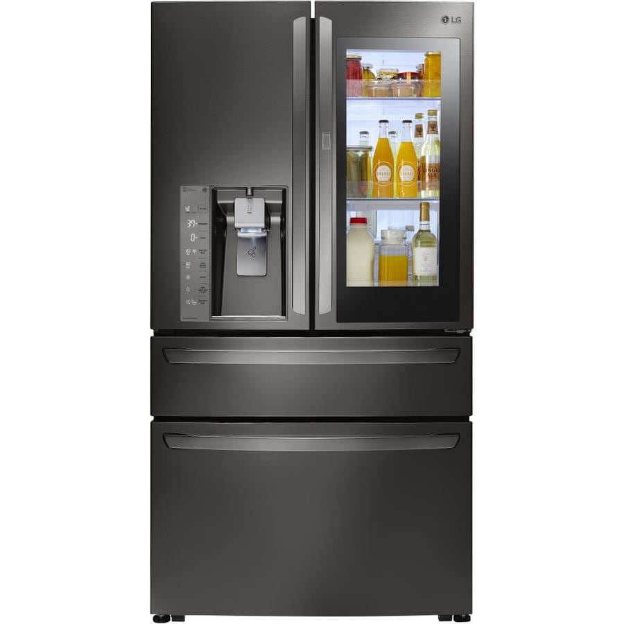 LG InstaView 22.7-cu ft 4-Door Counter-Depth French Door Refrigerator with Ice Maker and Door within Door (Fingerprint-Resistant Black Stainless Steel) ENERGY STAR