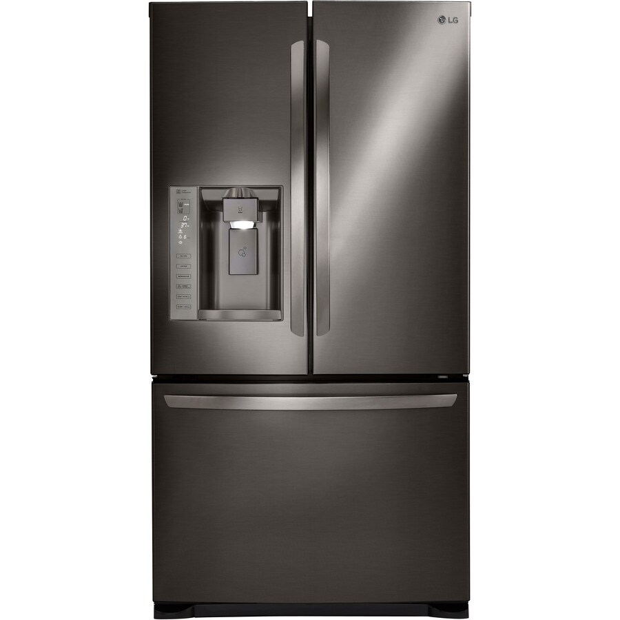 LG 24.1-cu ft 3-Door French Door Refrigerator Single Ice Maker (Black Stainless Steel) ENERGY STAR