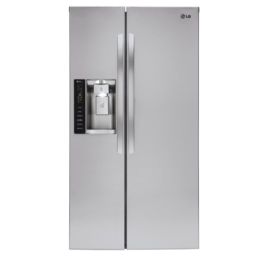 LG 21.93-cu ft Counter-Depth Side-by-Side Refrigerator with Single Ice Maker (Stainless Steel) ENERGY STAR