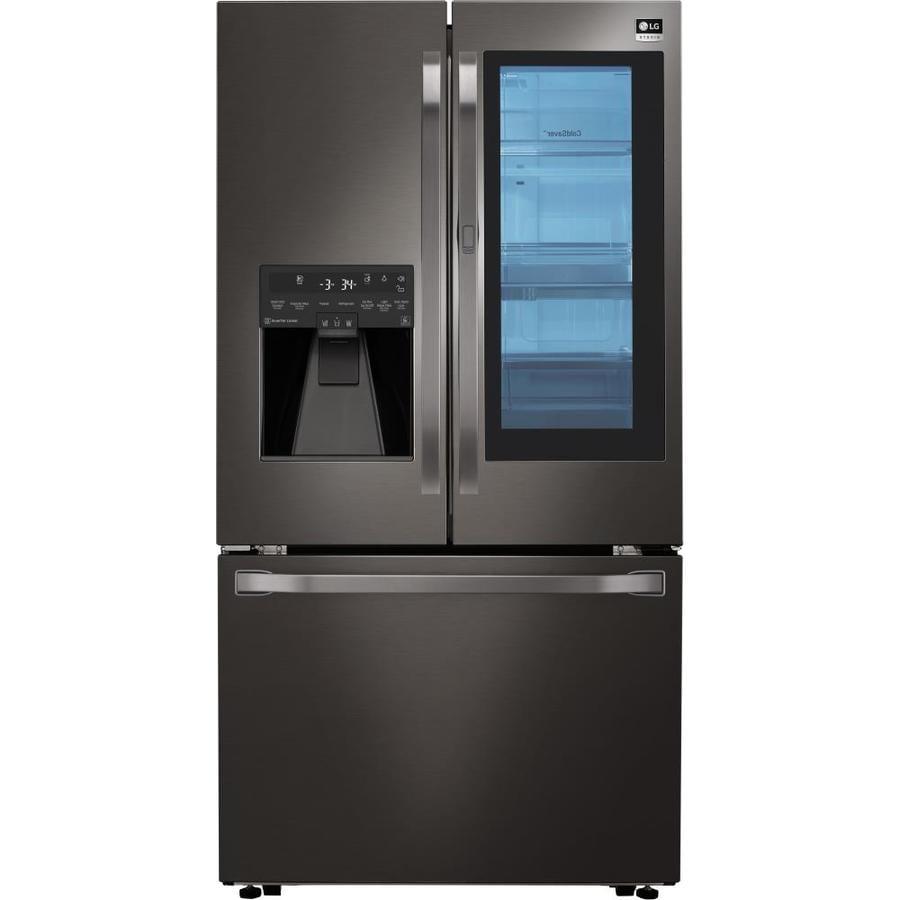 LG Studio InstaView 23.5-cu ft Counter-Depth French Door Refrigerator with Ice Maker and Door within Door (Fingerprint-Resistant Black Stainless Steel) ENERGY STAR