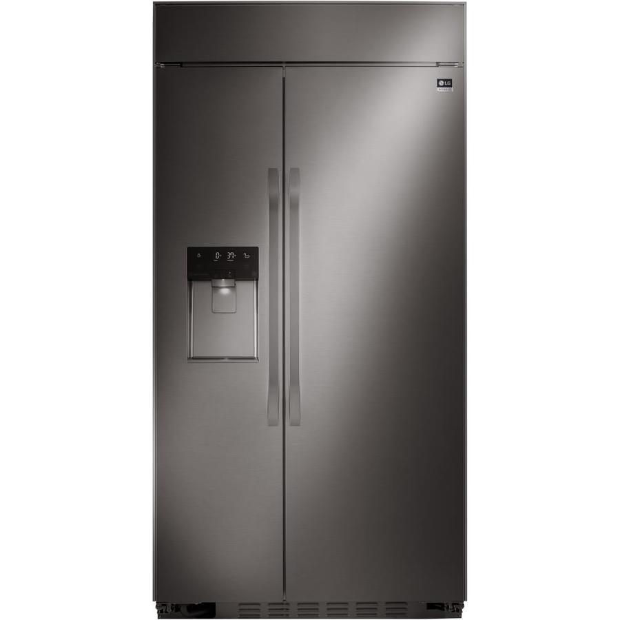 LG Studio 25.6-cu ft Built-In Side-by-Side Refrigerator with Ice Maker (Fingerprint-Resistant Black Stainless Steel) ENERGY STAR