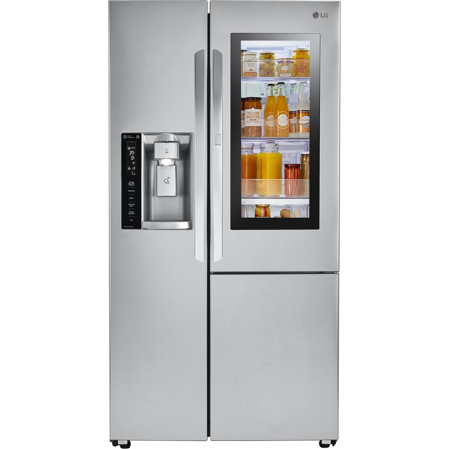 Shop Lg Instaview 21 7 Cu Ft Side By Side Refrigerator
