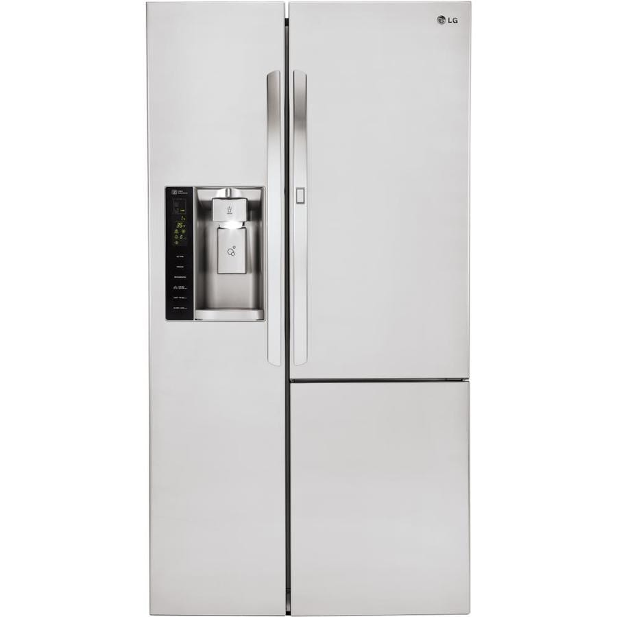 LG 21.7-cu ft Counter-Depth Side-by-Side Refrigerator with Ice Maker and Door within Door (Stainless Steel) ENERGY STAR