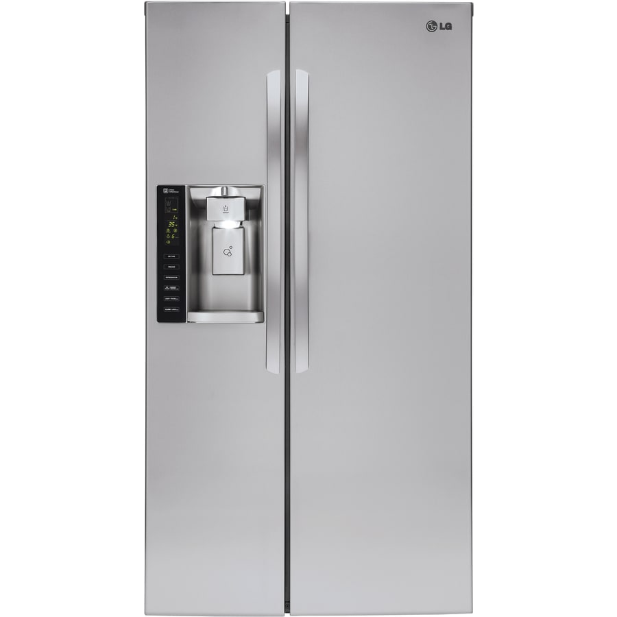 LG 21.9-cu ft Counter-Depth Side-by-Side Refrigerator with Ice Maker (Stainless Steel) ENERGY STAR