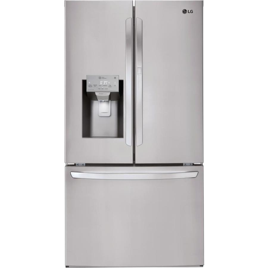 LG Smartthinq 27 7-cu ft French Door Refrigerator with Ice Maker and