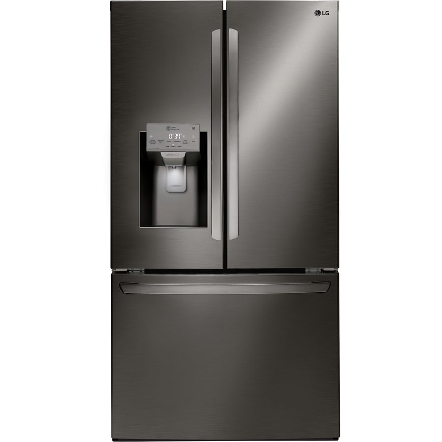 LG Ultra Large Capacity 3-Door Refrigerator 18.6-cu ft French Door Refrigerator with Ice Maker (Black stainless steel)