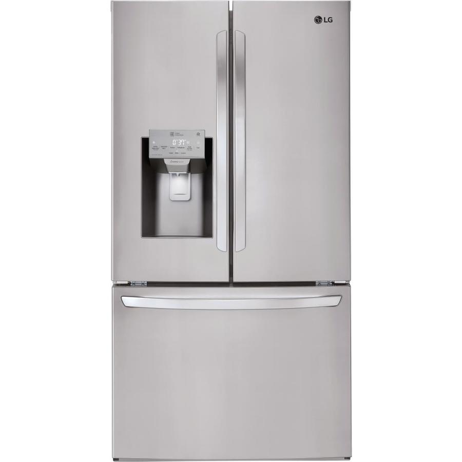 Lg 27 9 Cu Ft French Door Refrigerator With Ice Maker Fingerprint Resistant Stainless