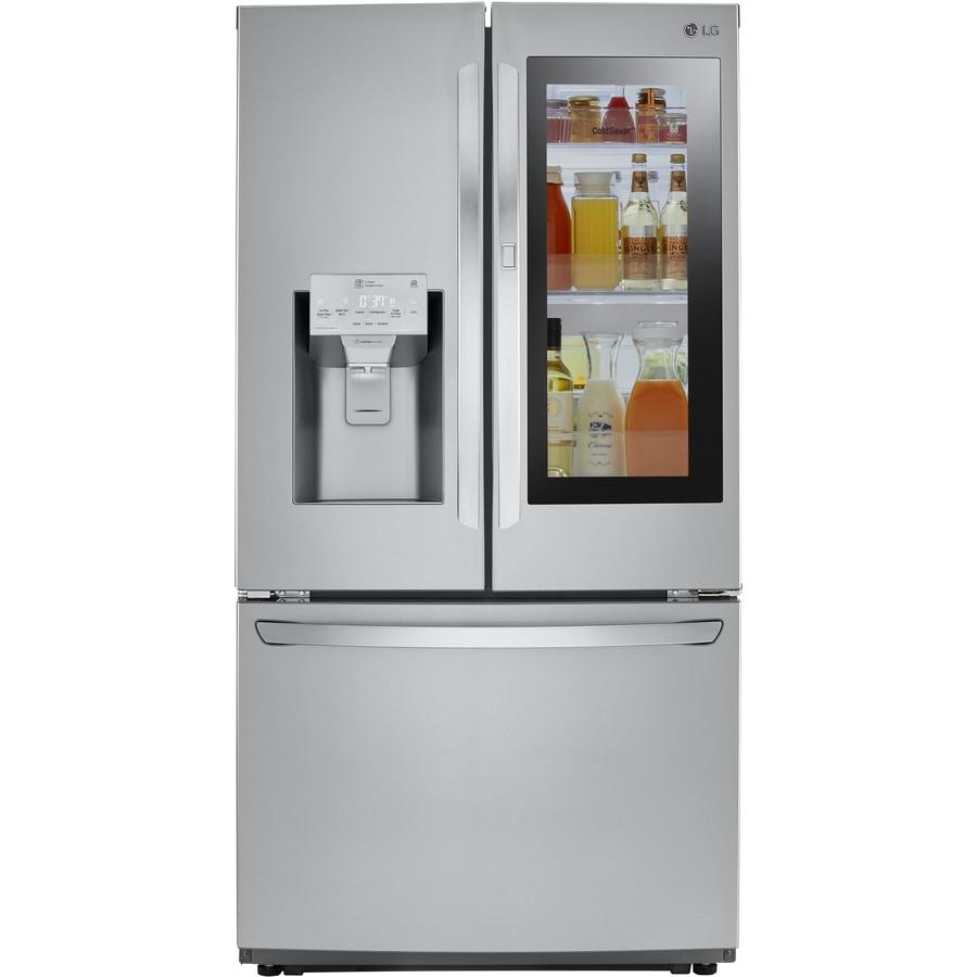 8da695301c69 LG InstaView 21.9-cu ft 4-Door Counter-Depth French Door Refrigerator with  Dual Ice Maker and Door within Door (Fingerprint-Resistant Stainless Steel)  ...
