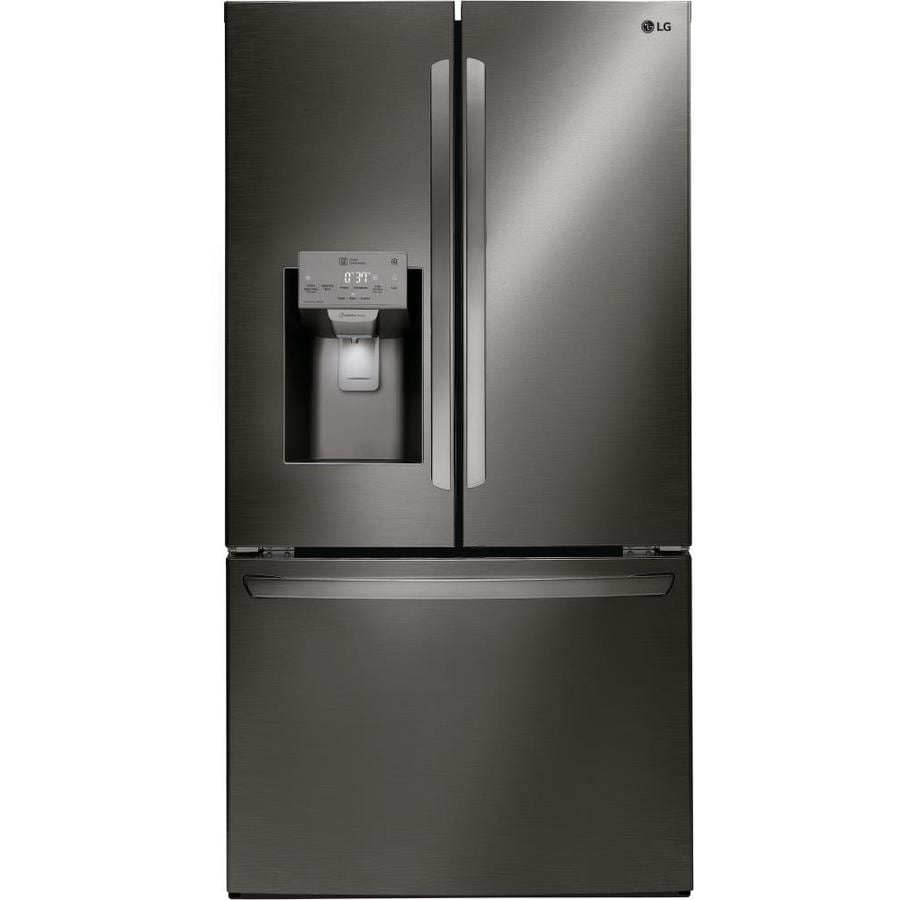 Kitchenaid 22 1 Cu Ft French Door Refrigerator With Ice: LG 22.1-cu Ft Counter-Depth French Door Refrigerator With Dual Ice Maker (Black Stainless Steel