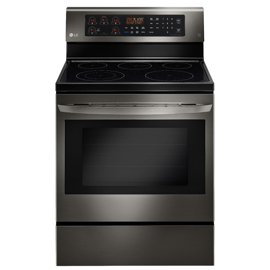 LG Smooth Surface Freestanding 5-Element 6.3-cu ft Self-Cleaning Convection Electric Range (Black Stainless Steel) (Common: 30-in; Actual: 29.87-in)