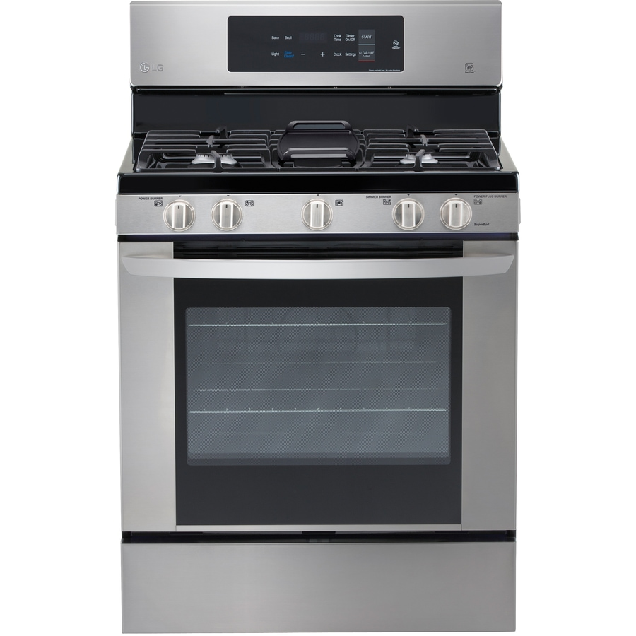 Lg Easy Clean 5 Burner 4 Cu Ft Freestanding Gas Range Stainless Steel Common 30 In Actual 29 9375