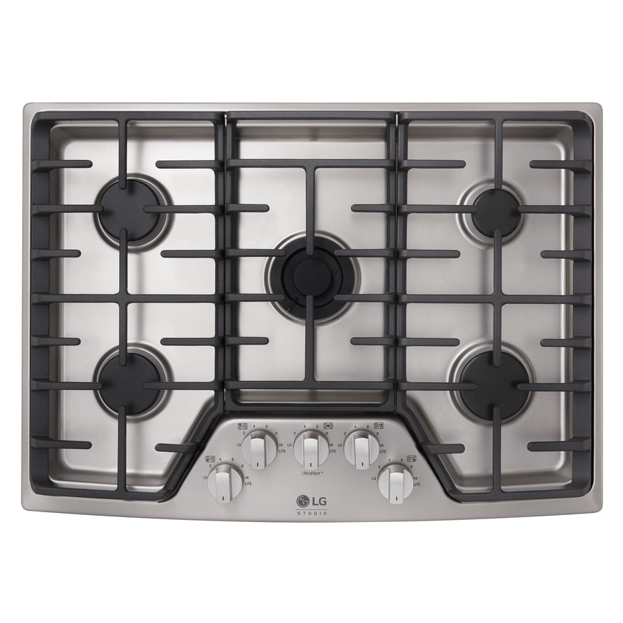 5 Burner Gas Cooktops: LG Studio 30-in 5-Burner Stainless Steel Gas Cooktop