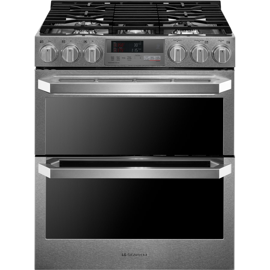 Shop lg signature 30 in 5 burner 3 cu ft 4 3 cu ft self cleaning double oven convection gas - Gas stove double oven reviews ...