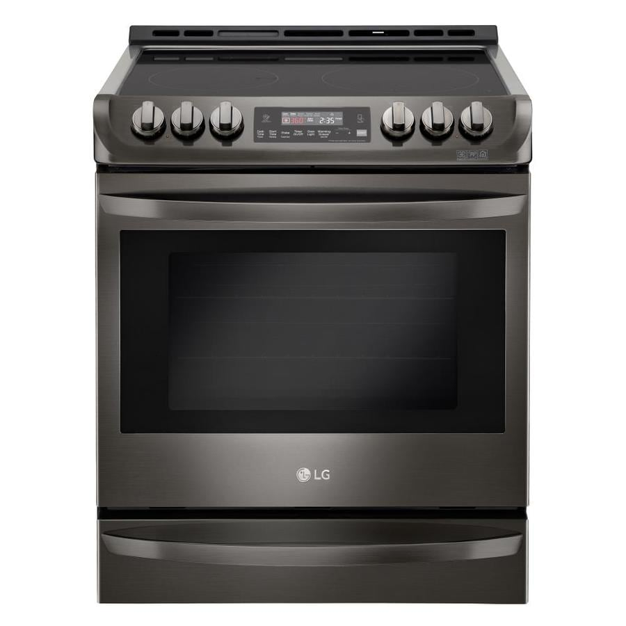 LG Smooth Surface 5-Element Self-cleaning With Steam Slide-In True Convection Electric Range (EasyClean Black Stainless) (Common: 30-in; Actual 29.9375-in)