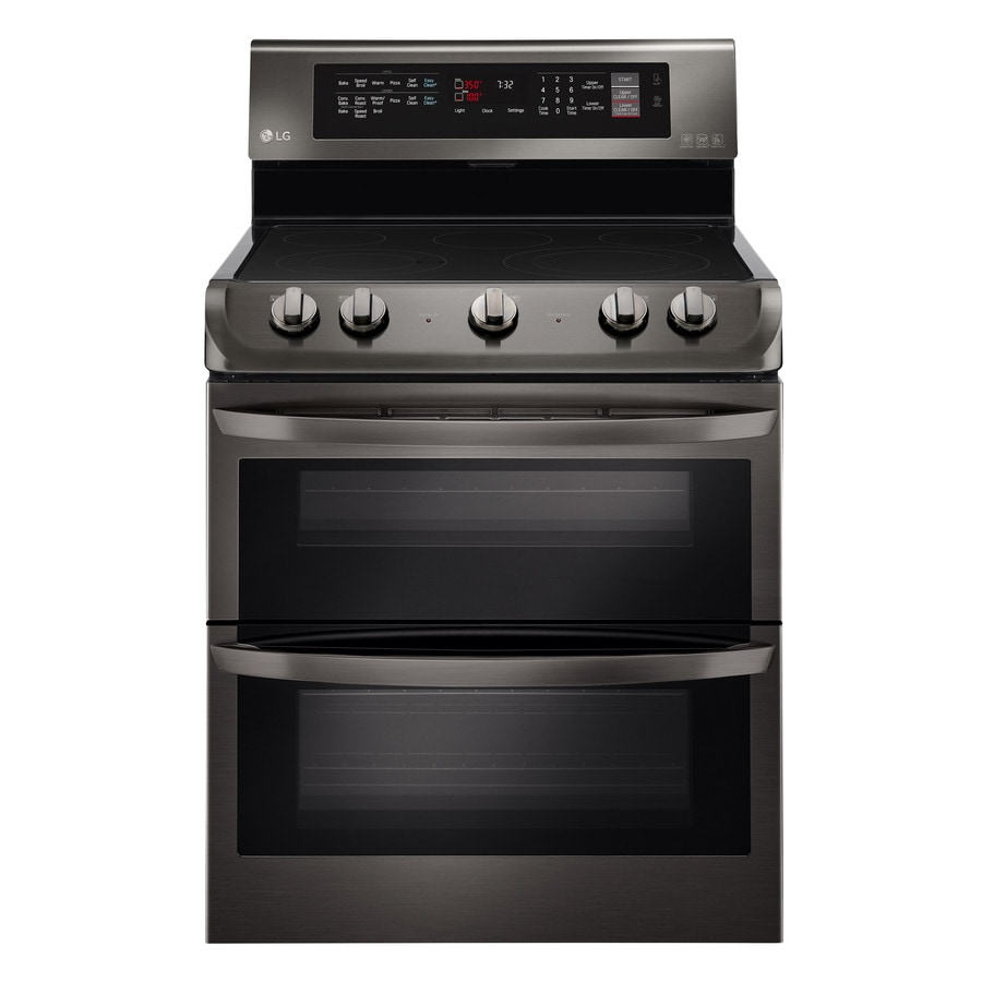 LG 30-in Smooth Surface 5-Element 3-cu ft/4.3-cu ft Double Oven Convection Electric Range (Black Stainless Steel)