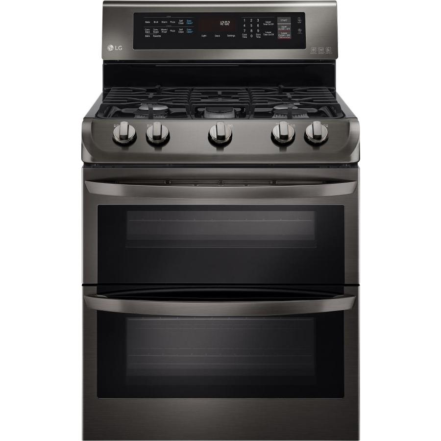 LG EasyClean 30-in 5-Burner 4.3-cu ft/2.6-cu ft Double Oven Convection Gas Range (Black Stainless Steel)