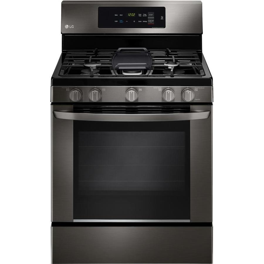 LG 5-Burner Freestanding 5.4-cu ft Gas Range (Fingerprint-Resistant Black Stainless Steel) (Common: 30-in; Actual: 29.9375-in)