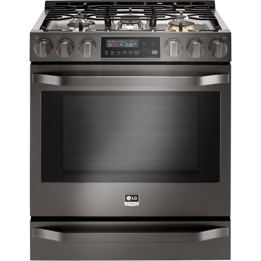 LG Studio 5-Burner 6.3-cu ft Slide-in Convection Gas Range (Black Stainless Steel) (Common: 30-in; Actual 29.875-in)