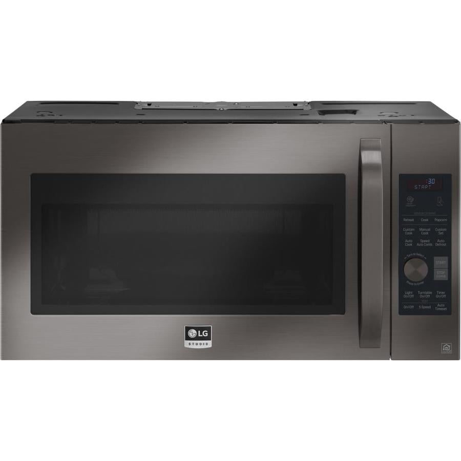 LG Studio 1.7-cu ft Over-the-Range Convection Microwave with Sensor Cooking Controls and Speed Cook (Fingerprint-Resistant Black Stainless Steel) (Common: 30-in; Actual: 29.9375-in)