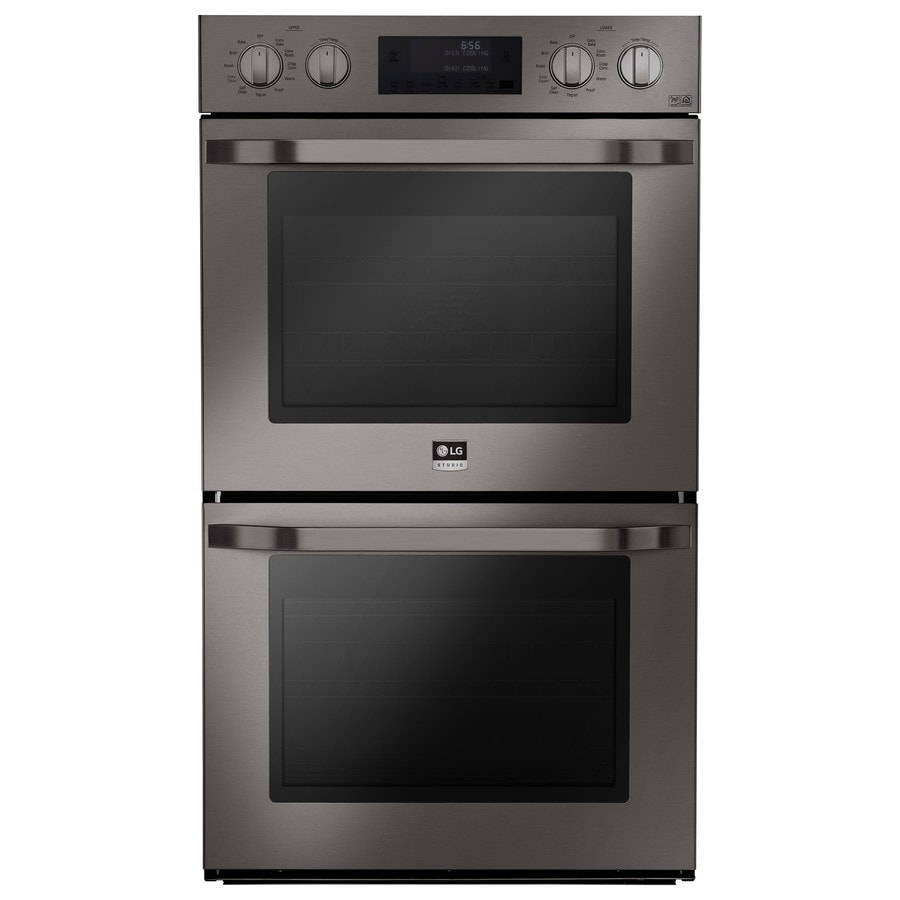 LG Studio Convection Single-Fan European Element Double Electric Wall Oven (Black Stainless Steel) (Common: 30-in; Actual: 29.75-in)