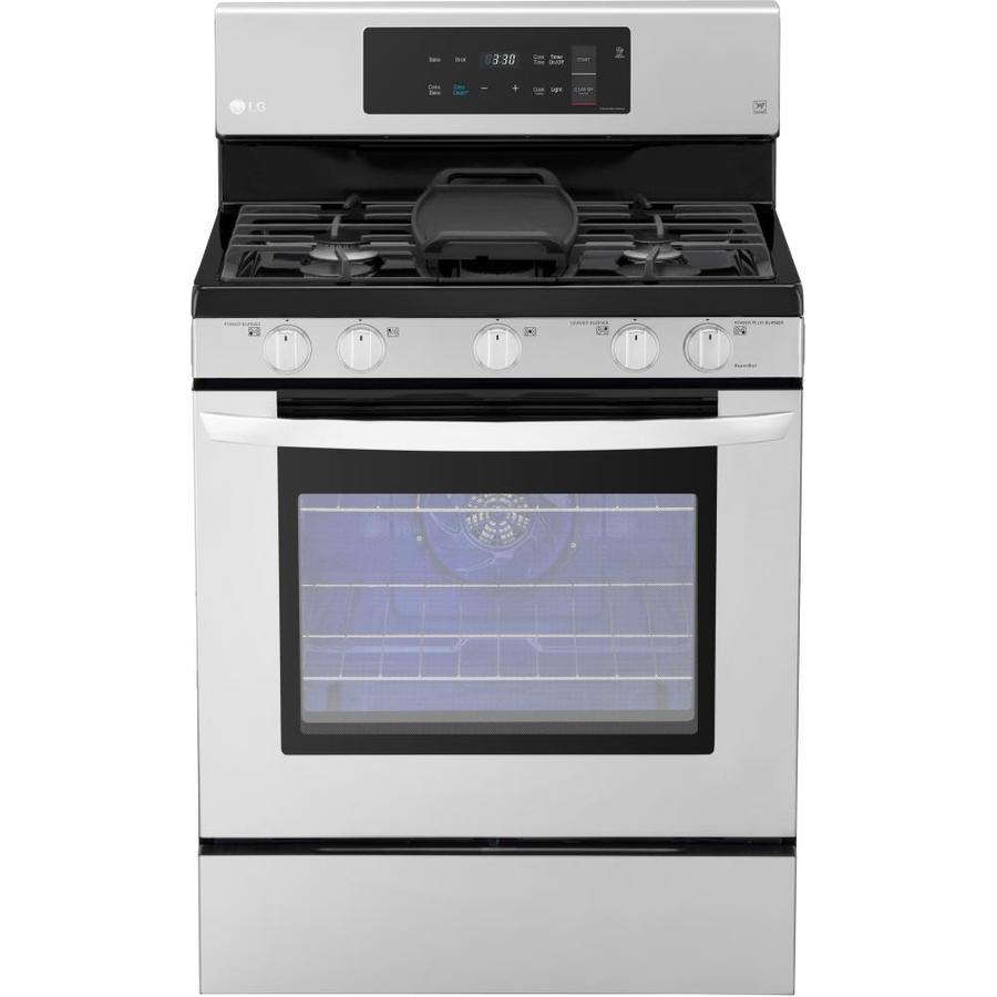 LG 5-Burner Freestanding 5.4-cu ft Self-cleaning Convection Gas Range (Stainless Steel) (Common: 30-in; Actual: 29.9375-in)