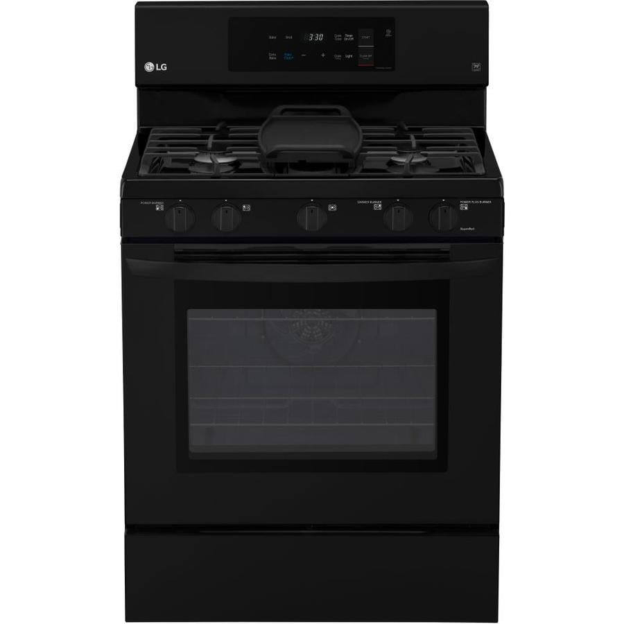 LG 5-Burner Freestanding 5.4-cu ft Self-cleaning Convection Gas Range (Smooth Black) (Common: 30-in; Actual: 29.9375-in)