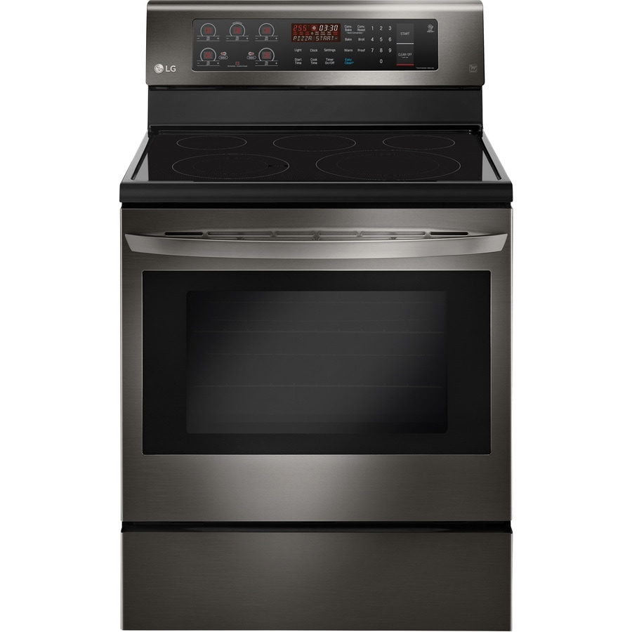 LG Smooth Surface Freestanding 5-Element 6.3-cu ft Convection Electric Range (EasyClean Black Stainless Steel) (Common: 30-in; Actual: 29.875-in)