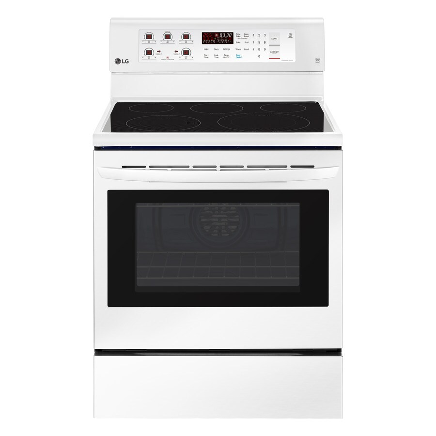 LG EasyClean Smooth Surface Freestanding 5-Element 6.3-cu ft Convection Electric Range (Smooth White) (Common: 30-in; Actual: 29.875-in)