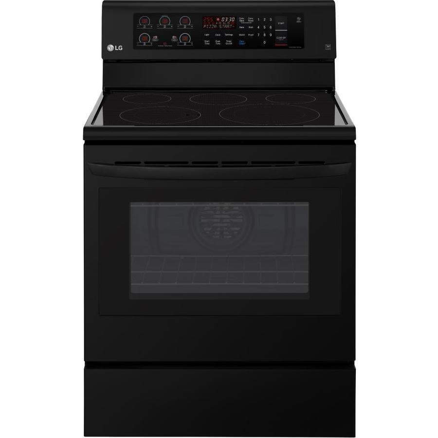 LG Easyclean Smooth Surface Freestanding 5-Element 6.3-cu ft Convection Electric Range (Smooth Black) (Common: 30-in; Actual: 29.875-in)