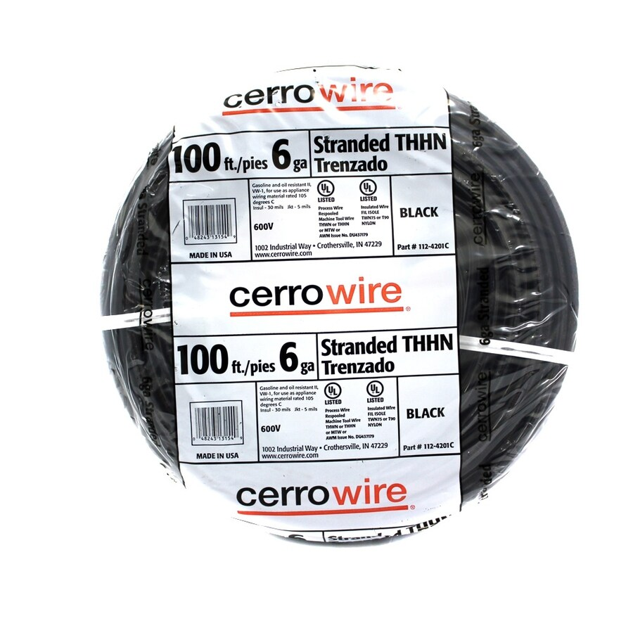 Cerro Wire 100-ft 6-AWG Stranded Black THHN Wire (By-the-Roll)