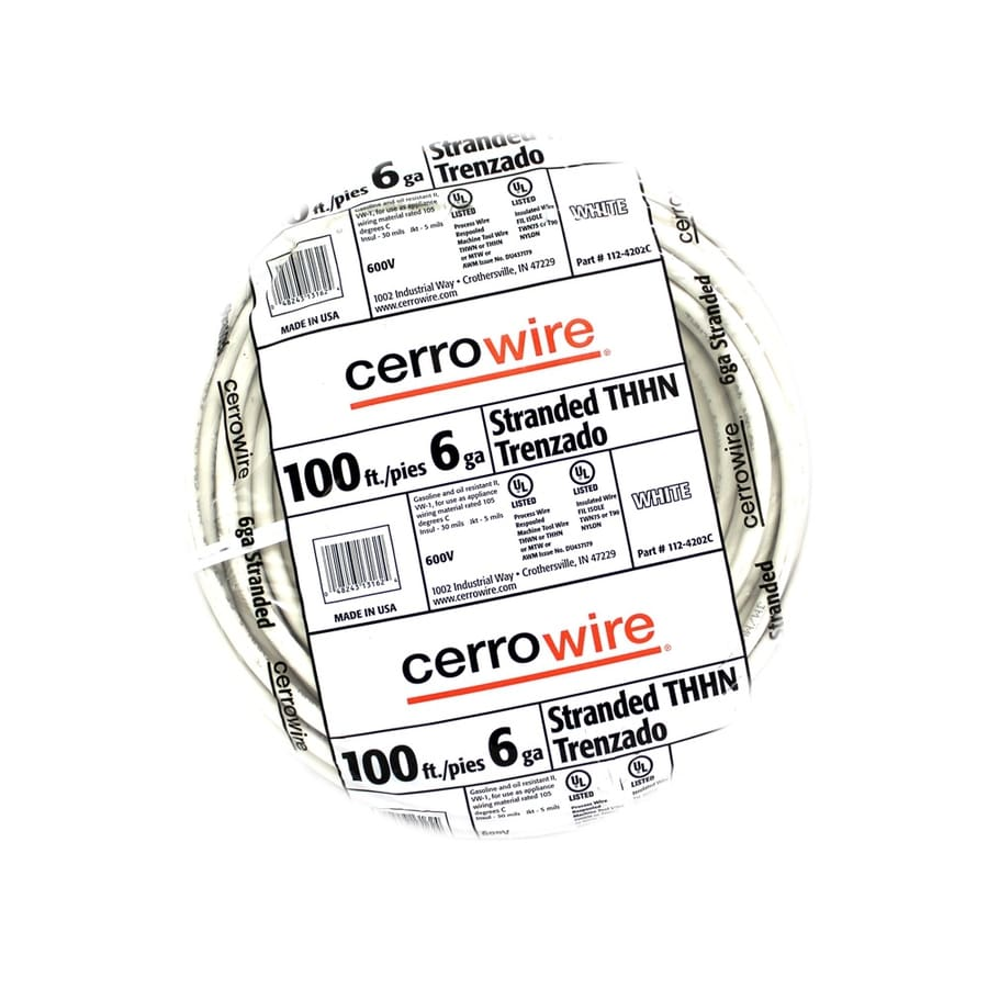 Shop Cerro Wire 100-ft 6-AWG Stranded White THHN Wire (By-the-Roll ...