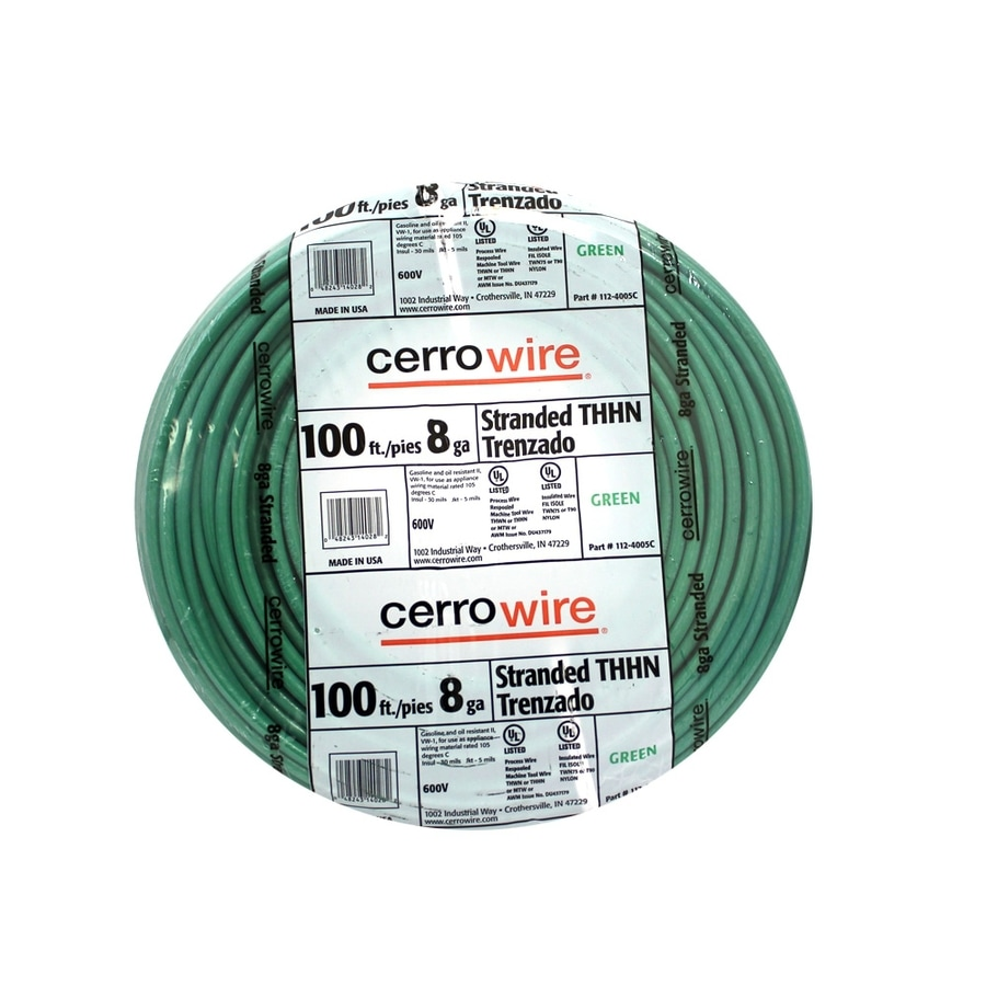 Shop Cerro Wire 100-ft 8 AWG Stranded Green THHN Wire at Lowes.com
