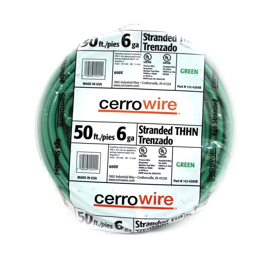 Shop Cerro Wire 50-ft 6 AWG Stranded Green THHN Wire at Lowes.com