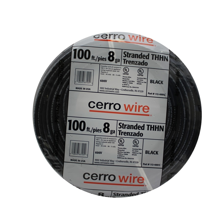 Cerro Wire 100-ft 8-AWG Stranded Black THHN Wire (By-the-Roll)