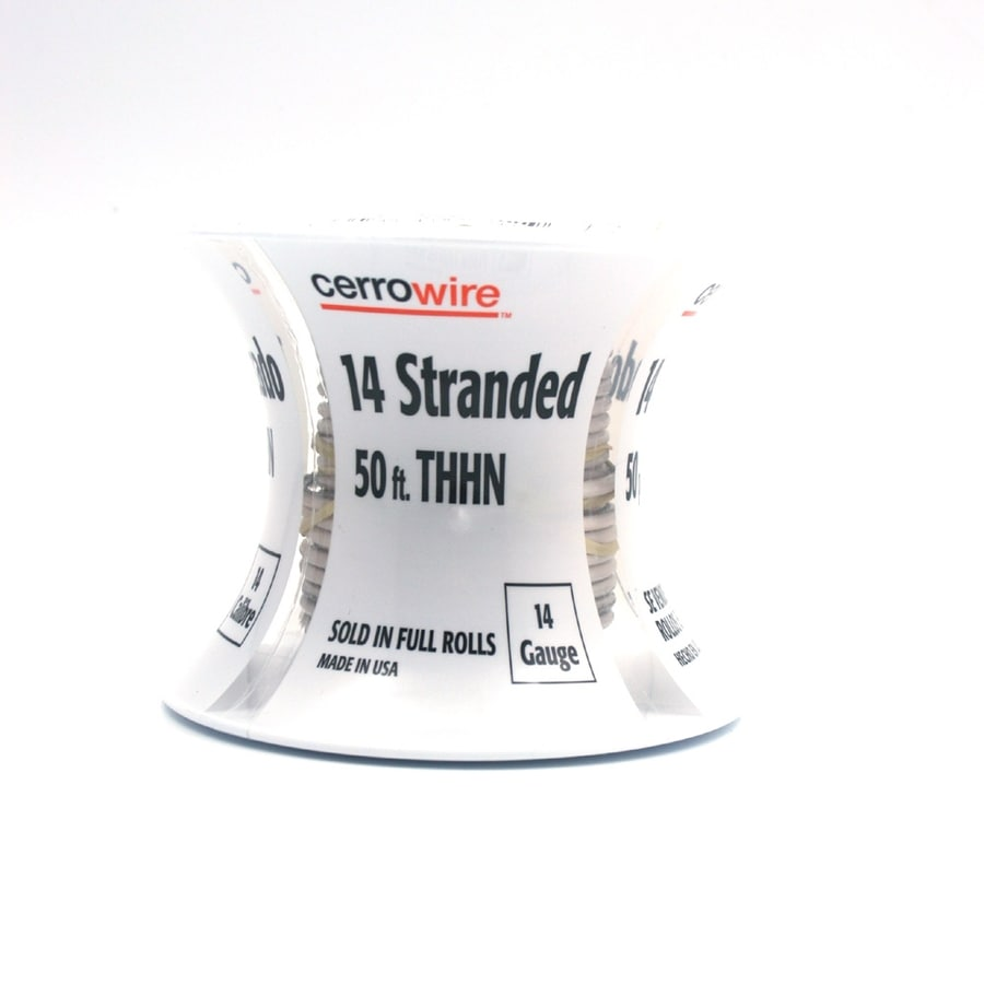 Cerro Wire 50-ft 14 AWG Stranded White THHN Wire